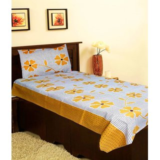 Dreamshomes beautiful cotton printed single bedsheet with one pillow cover