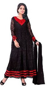 Florence Red And Black Brasso Embroidered Salwar Suit Dress Material (Unstitched)