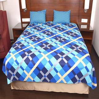 JaipurFabric Cotton  Bice Color Blue Square Print Double Bed Sheet