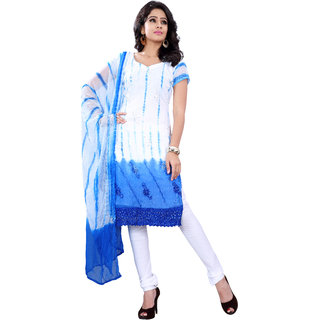 Florence White  Blue Georgette Embroidered Suit (SB-2708)