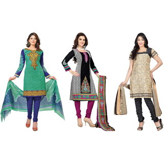 Florence Pack of 3 Multicolor Poly Cotton Printed Suit  (SB-Pack of 3 July 2) (Unstitched)