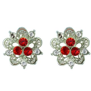 Suvini Floral Shaped Silver Colored Stud