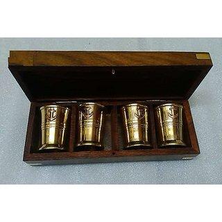 Vintage Solid Brass glass Set Of 4
