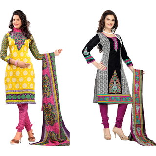 Florence Pack of 2 Multicolor Poly Cotton Printed Suit  (SB-Pack of 2 July 13) (Unstitched)
