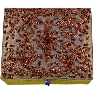 Avinash Handicrafts Jewellery Box inch in Zari work 6x5x25 inch