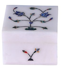 Avinash Handicrafts White Stone Jewellery box (Square) 25x25 inch Inlaid