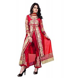 Florence Red And Gold Net Embroidered Salwar Suit Dress Material (Unstitched)