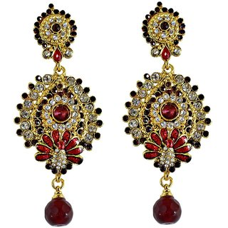 Suvini Exeburent Golden  Maroon Drop Earrings With Meenakari