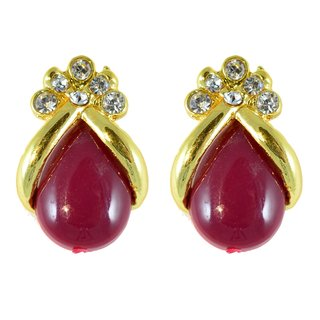 Suvini  Pretty Stud Earrings Adorned with Colored Stone