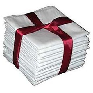 Set Of 10 Pure White Cotton Handkerchief