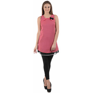 Ektara Womens Dotted Pink n Black Short Dress