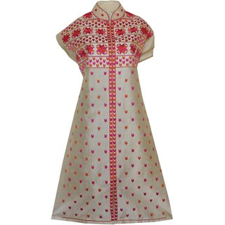 Phulkari Craft Beige Colour Cotton Silk MultiColor Embroidered Unstitched Kurti