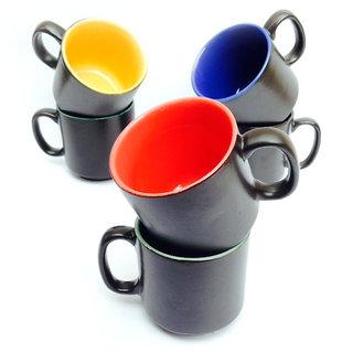 Jocular  White Designer Multicolour Straight Cups-Set Of 6 1795