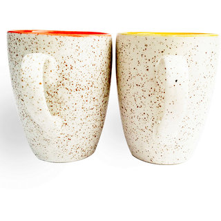 Duo Tone Coffee Mugs-Orange And Yellow-Set Of 2 1908