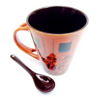 Jocular  Elegant Duo-Tone Mug With Stylish Spoon (Rust) 1808