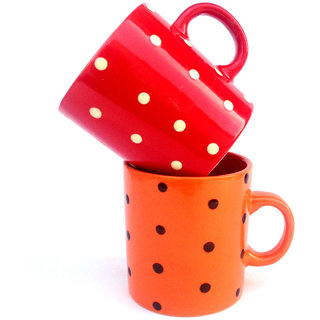 Jocular Elegant Polka-Dots Red And Orange Mugs-Set Of 2 1896