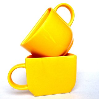 Jocular Half Half Yellow Glossy Finish Mug 1853