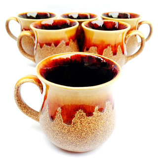 Jocular  Elegant Rust Colour Duo-Tone Cups-Set Of 6 1820