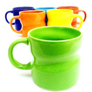 Jocular  Elegant Twist-Shape Multicolour Cups-Set Of 6 1817