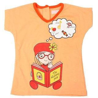JusCubs Girl Reading Book Orange Top
