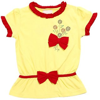 JusCubs Two Bows Yellow Top