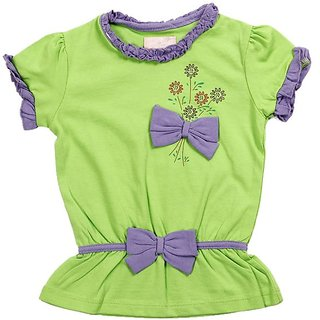 JusCubs Two Bows Green Top