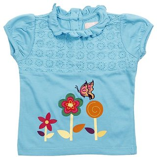 JusCubs Three Flowers Blue Top