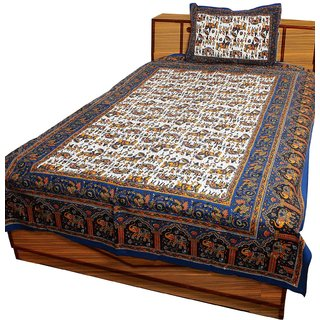 Ethnic Rajasthani Elephant Floral Single Bed Sheet Bedcover Single Bedsheet-203