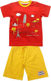JusCubs Around The World Printed - Envlope Neck T-Shirt With Shorts