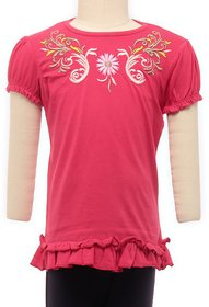 JusCubs Butterfly Embroidery Green Top