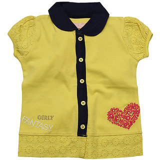 JusCubs Embroided Heart Collar Yellow Top