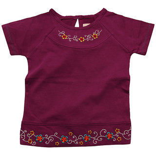 JusCubs Embroided Floral Top With Ranglan Sleeve