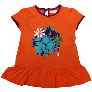 JusCubs Printed Floral Orange Tunic With Contrast Piping