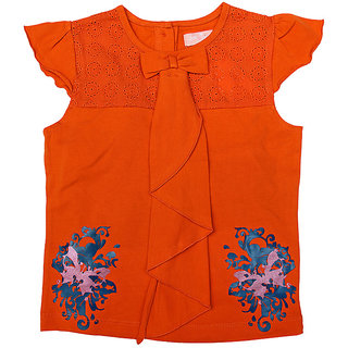JusCubs Printed Butterfly With Collar Frill Fall Top