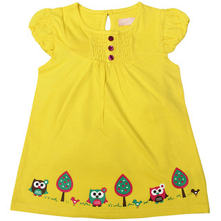 JusCubs Frock- Owl Yellow