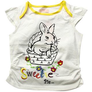 JusCubs Tee- Rabbit In Basket White Tee