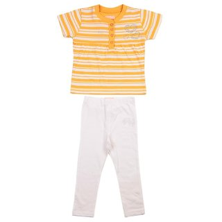 JusCubs Striped Top With Leggings Yellow Top