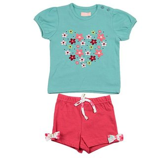 JusCubs Floral T Shirt With Shorts Green Top