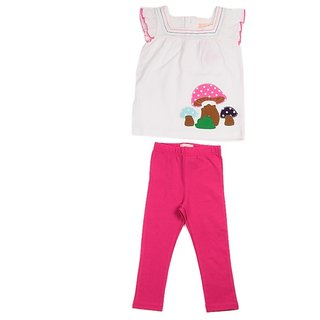 JusCubs Mushroom Patch With Leggings White Top