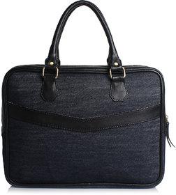 Craft Concepts Mac-Denim Blue Leather Laptop Briefcase