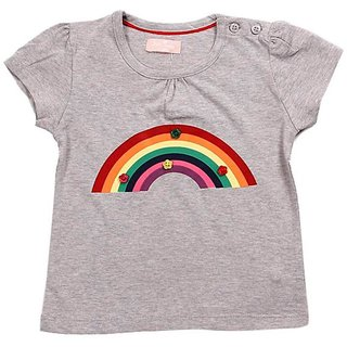 JusCubs Colourful Rainbow Grey Top