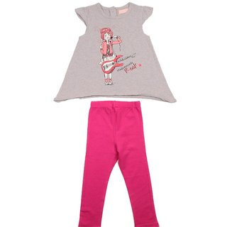 JusCubs Girl Guitar With Leggings Grey Top