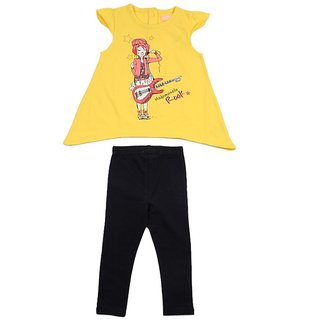JusCubs Girl Guitar With Leggings Yellow Top