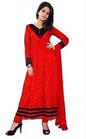 Florence Red And Black Net Block Print Salwar Suit Dress Material (Unstitched)