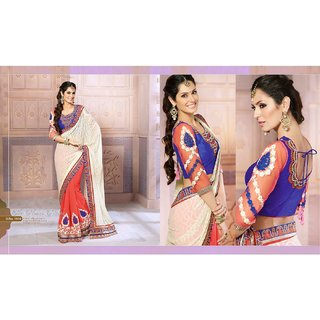 Triangle Exim Silver Brocade Self Design Saree With Blouse