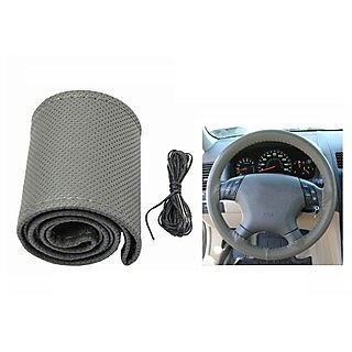Takecare Stitchable Leatherette Car Steering Wheel Cover Grip -Grey For Maruti Celerio