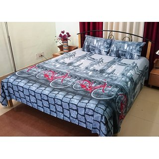 Fresh From Loom Cotton Double Bed Sheet With Pillow Cover 560-Rotary-Grey-Cycle-DB