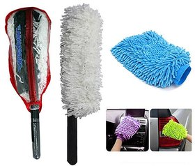 Takecare Car Cleaning Kit Long Microfiber Duster With Microfiber Glove For Nissan Micra Active
