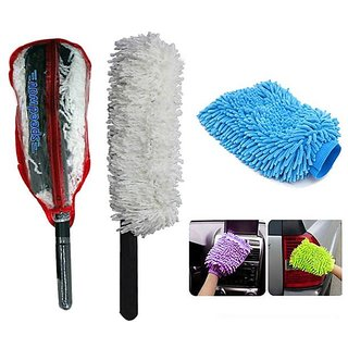Takecare Car Cleaning Kit Long Microfiber Duster With Microfiber Glove For Mahindra Quanto