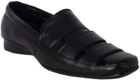 ShoeAdda Black Slip On Roman Shoe